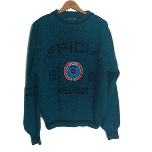 Vintage 'Mens IOU 1989 Member' Turquoise Sweater